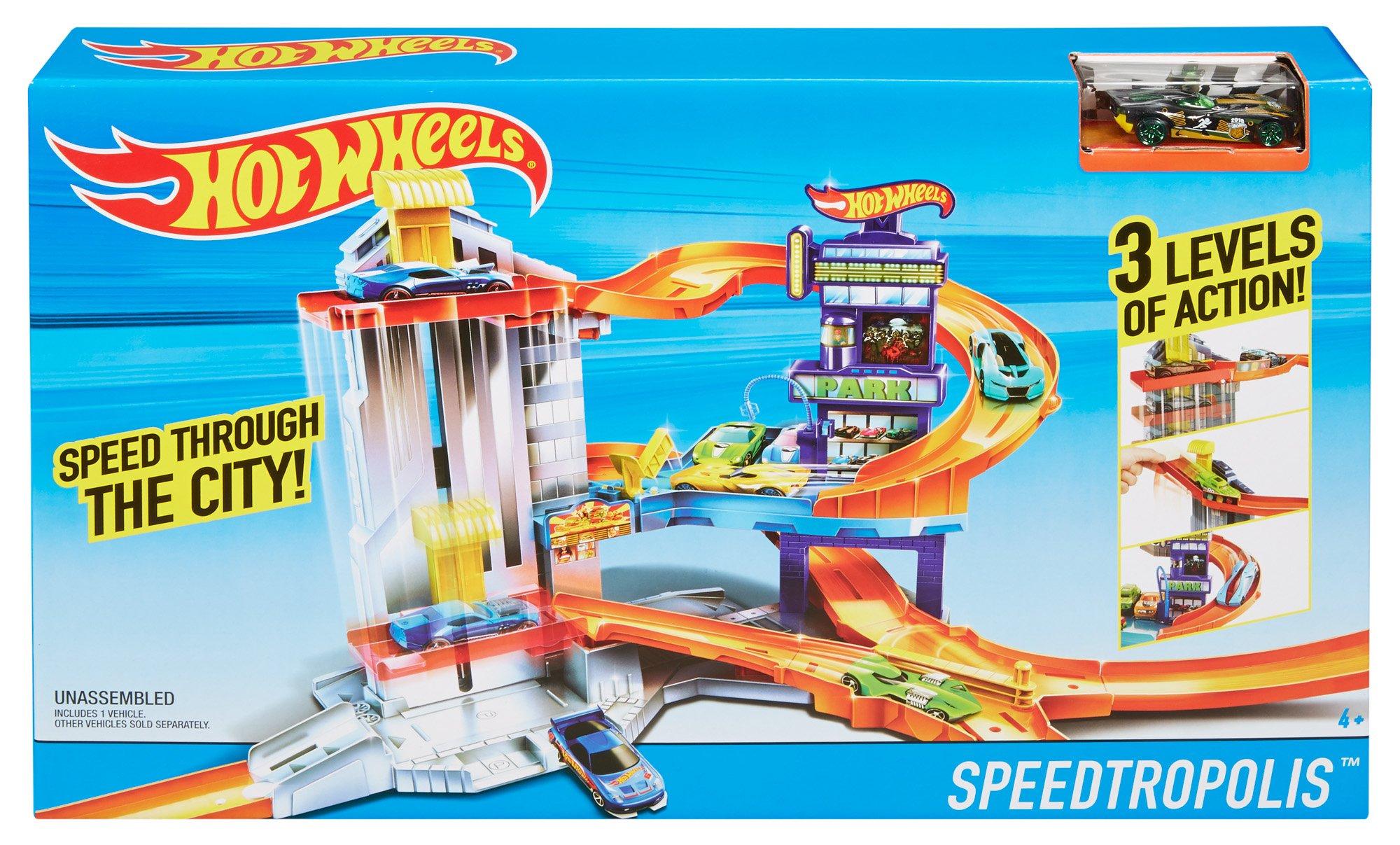 3 niveles de acción incluye 1 vehículo Hot Wheels-speedtropolis